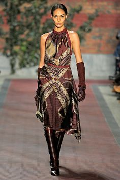 Tommy Hilfiger silk equestrian-themed dress on Joan Smalls fall 2012 rtw