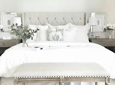 Bedroom Décor Ideas You Haven't Seen Before White Bedding Styling Ideas. Bedroom with white bedding. Bedroom with white bedding. Small Master Bedroom, Master Bedroom Design, Dove Grey Bedroom, Bedroom Designs, Bedroom Furniture, Bedroom Decor, Bedroom Ideas, White Furniture, Furniture Chairs