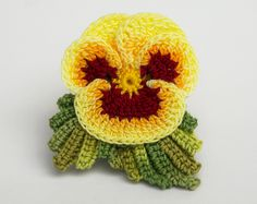Hand dyed crochet thread realistic pansy viola by FoxStitchDesign