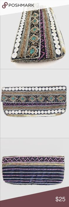 """K.C. Malhan 100% Silk Mini Clutch K.C. Malhan 100% Silk Mini Clutch, absolutely stunning with the beaded and sequined detail. EUC, smoke free home.   Length: 8"""" Depth: 4"""" K.C. Malhan Bags Clutches & Wristlets"""