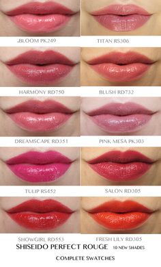 Shiseido A/W 2013: Ten New Shades of Perfect Rouge [Complete Swatches]