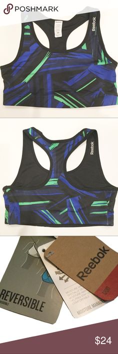 REEBOK REVERSIBLE MOISTURE MGMT SPORTS BRA NWT REEBOK REVERSIBLE MOISTURE MGMT SPORTS BRA NWT- Moisture management fabric specially developed to wick moisture away from the skin.  Helping stay cool and comfortable.  Reverse side is black with REEBOK logo as shown in photo.  I have only 1 Large, 2 Medium, 1 Small and 1 XS.  Reasonable offers will be considered.  You can choose to bundle with other items and get an additional 10% Off. 😊. Happy Poshing! 😊❤️ Reebok Other
