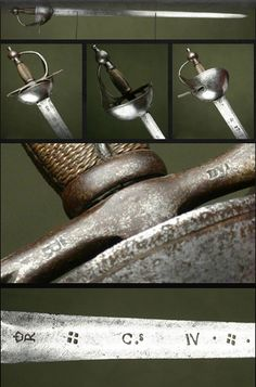 """Spanish Bilbo Sword Dated: circa 1700 Culture: Spanish, probably Toledo Medium: steel, wood Because of the inscriptions on the blade a crowned """"R"""" (probably the maker's mark), the letter """"C"""" followed by the roman number """"IV"""" (four) and the year """"1796"""", it is presumed that the sword could have belonged to the King Charles IV of Spain."""