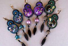 Soutache Earrings  Celebration by BeadsRainbow on Etsy,