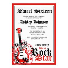 Rock Star Guitar Sweet 16 Birthday Party Red Invites