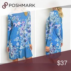PREORDER Beautiful blue/orchid long sleeve dress! A- line stunning transition dress in a pretty pop of color with floral print - fit is true to size Dresses
