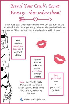 Here's a fun & deliciously unethical Tarot card spread, designed to help you pry into your crush's secret sexy-mind!