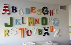 ideas for painting wood letters | Look at the natural wood color of this cute ABC sign. I love how small ...