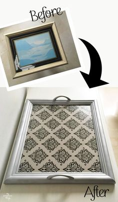 DIYs Crafts and Recipes: How to transform a picture frame into a tray Picture Frame Tray, Picture Frame Crafts, Old Picture Frames, Old Frames, Idee Diy, Diy Décoration, Diy Frame, Recycled Crafts, Old Pictures