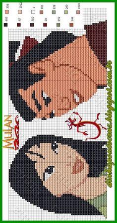 Mulan and Shang Cross Stitch Bookmarks, Cross Stitch Charts, Cross Stitch Designs, Cross Stitch Patterns, Loom Patterns, Crochet Cross, Crochet Chart, Disney Hama Beads Pattern, Cross Stitching