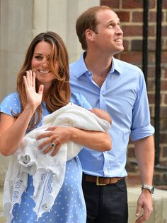 The Royal Baby Makes His First Appearance With Will and Kate!: Kate Middleton and Prince William greeted the crowd as they left St. Mary's Hospital with the royal baby.