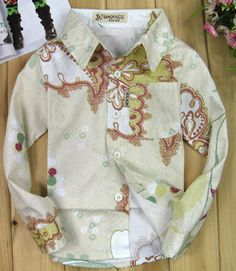 Flower Printed Long Sleeve Cotton Shirt
