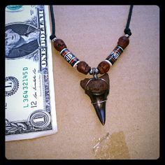 Handwrapped Shark tooth necklace Beautiful brown color Mako shark tooth with hand painted Peruvian and wood carved skull beads on adjustable cord. handmade  Jewelry Necklaces
