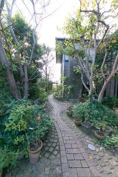 玄関から庭へと続く小道。レンガが敷き詰められたヨーロッパ風の佇まい。