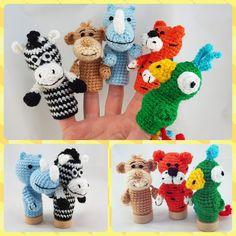 Finger puppets Africa Animal Toddler toy Baby shower gift Baby Travel Waldorf toy Parrot plush Crochet tiger zebra stuffed Tiger rhinoceros
