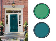 red brick house front door front door paint colour for a red brick house front door colors red brick house uk Teal Front Doors, Best Front Door Colors, Teal Door, Front Door Paint Colors, Exterior Paint Colors For House, Painted Front Doors, House Colors, Paint Colours, House Front Door