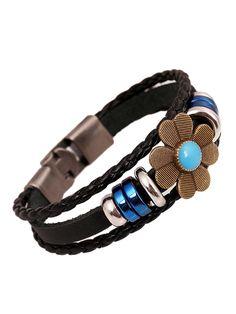 Floral Embellishment Leather Bracelet Pack