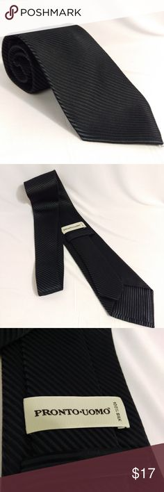 """Pronto Uomo 100% Silk Tie Striped Diagonal Black Pronto Uomo 100% Silk Necktie  Striped diagonal, very high quality tie.    60"""" length, 3.5"""" width - semi-slim   CT5 Pronto Uomo Accessories Ties"""