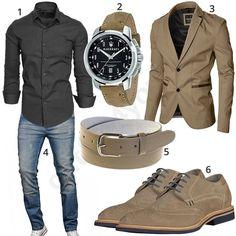 Eleganter Business-Style mit grauem Amaci&Sons Hemd, ausgewaschener A. Salvarini Jeans, Maserati Armbanduhr mit beigem Armband, schmalem Ledergürtel, s.Oliver Schnürschuhen und Moderno Sakko.