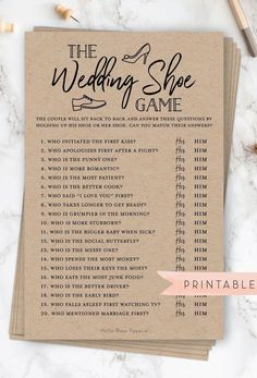 The Wedding Shoe Game Virtual Printable Bridal Wedding Couples Shower Engagement Party Printable Wedding Couples, Wedding Bride, Wedding Day, Celtic Wedding, Wedding Rings, Couples Wedding Shower Games, Couples Shower Decorations, Boho Wedding, Wedding List