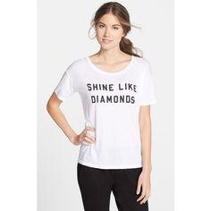 Spiritual Gangster 'Shine Like Diamonds' Boxy Tee ($54) ❤ liked on Polyvore featuring tops, t-shirts, white, boxy tee, short sleeve t shirts, white swim top, short sleeve scoop neck tee and white tee
