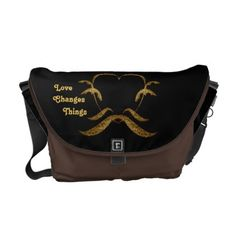 Love Changes Things Golden Brown Heart Black Messenger Bag - lace gifts style diy unique special ideas