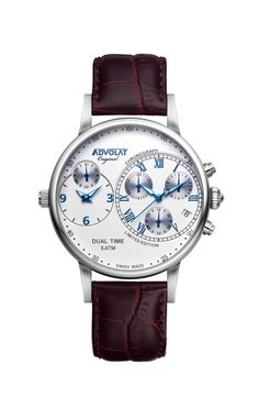 ADVOLAT CAPITAINE Dual Time, Stainless Steel Casing, Face white/blue, Leather Bracelet Brown, Ref. 88001/1-L3 Limited Edition Watches, Watches Online, Watch Brands, Omega Watch, Stainless Steel, Brown, Leather, Stuff To Buy, Blue