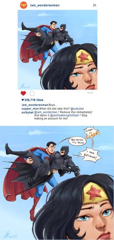 Batman Superman Wonderwoman Instagram by msloveless