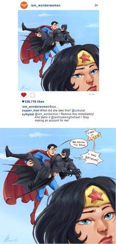 Batman Superman Wonderwoman Instagram by msloveless