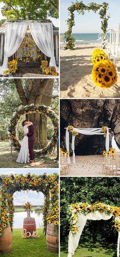 30 Cheerful Sunflower Wedding Ideas for a Rustic Chic Wedding Fall Sunflower Weddings, Sunflower Wedding Decorations, Outdoor Wedding Decorations, Wedding Arch Rustic, Wedding Ceremony Backdrop, Chic Wedding, Wedding Ideas, Outdoor Ceremony, Wedding Stuff