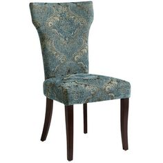 A slim profile loaded with details that include thick, comfortable padding, a coordinating striped back, damask front with covered button accent and gently curved birch legs. Who knew that even chairs can never be too thin or too rich?
