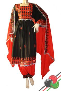 red and black afghani dress