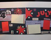 4th of July Premade Layout Pages Red White Blue