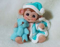 Monkey Baby Baby's first Christmas Ornament cake topper teddy bear children Personalized Gift  Polymer Clay Baby Shower Gift