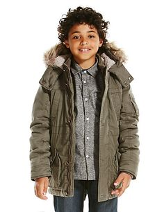 Pure Cotton Faux Fur Trim Parka (5-14 Years) | M&S