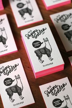 Shyama Golden business card. Rhymes with lllama (how cute is that). Love the neon edges illustration. Made by Shyama Golden herself.