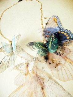 Fluttery Breath of Life Necklace Gold Brushed Aqua by jewelera