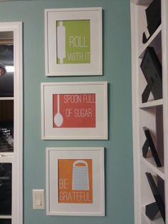 My kitchen wall with a little creation inspired by another pin. Kitchen decor! -mw