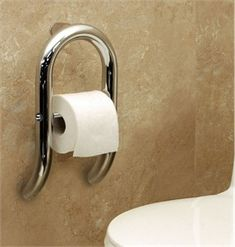 Toilet Roll Holder and Grab Bar for Bathrooms, with Integrated Support Rail. This support handrail grab bar provides functional stability just like a grab bar but it also holds a roll of toilet paper. It's a toilet roll holder and grab bar all in one Ada Bathroom, Handicap Bathroom, Bathroom Safety, Bathroom Toilets, Small Bathroom, Handicap Toilet, Bathroom Ideas, Modern Bathrooms, Bathroom Cabinets