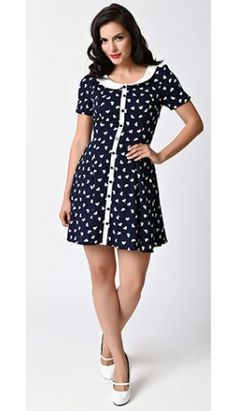 0c26bd37e0 1960s Style Navy  amp  White Hearts Collared Set Sail Flare Dress 1960s  Dresses