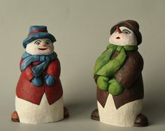 Snowman and Snow Woman Woodcarving Folk Art by TurtleMtnArtistry