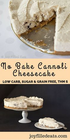 This No Bake Cannoli Cheesecake is creamy with all the flavors of a cannoli. It is the perfect summer dessert. THM S, Sugar/Grain/Gluten Free, Low Carb. via Joy Filled Eats - Low Carb, Keto, THM Recipes Low Carb Sweets, Low Carb Desserts, Just Desserts, Low Carb Recipes, Dessert Recipes, Diabetic Desserts, Diabetic Tips, Fudge Recipes, Healthy Desserts