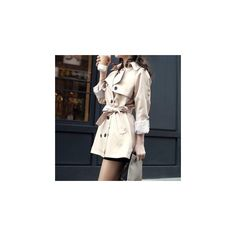 Tie Neck Trench Jacket ($43) ❤ liked on Polyvore featuring outerwear, jackets, women, khaki jacket, trench jacket, neck-tie, tie neck tie and neck ties