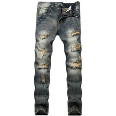 Straight Leg Vintage Distressed Jeans (38 CAD) ❤ liked on Polyvore featuring men's fashion, men's clothing, men's jeans, mens destroyed jeans, mens ripped jeans, mens straight leg jeans, mens vintage jeans and mens distressed jeans