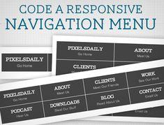 Responsive design: Coding a Navigation Menu Responsive Web Design, Responsive Email, Graphic Design Tips, Portfolio Website, Menu Design, Typography Logo, Web Design Inspiration, Design Development, Utila