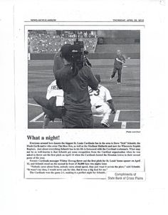 More on Steve Schmitt's big moment (throwing out the first pitch for the St. Louis Cardinals)