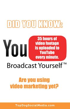 Did you know: You Broadcast Yourself [ 35 hours of video footage is uploaded to YOUTUBE every minute.] Are you using video marketing yet? ~Melonie Dodaro TopDogSocialMedia.com