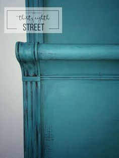 Thirty Eighth Street | Gorgeous Turquoise Bed Created Easily By Layering Chalk Paint® Colors In Aubusson Blue And Provence. Full Tutorial! This Is Easy To Do And Gives Such An Amazing Soft Multi-Dimensional Look!