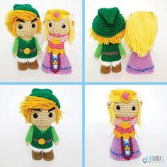 Zelda and Link crochet dolls.