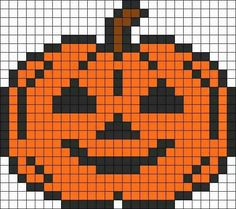 Jack o lantern -- perler beads Hama Beads Halloween, Halloween Crochet, Beaded Cross Stitch, Cross Stitch Embroidery, Cross Stitch Patterns, Pearler Bead Patterns, Perler Patterns, Perler Bead Ornaments Pattern, Perler Bead Art